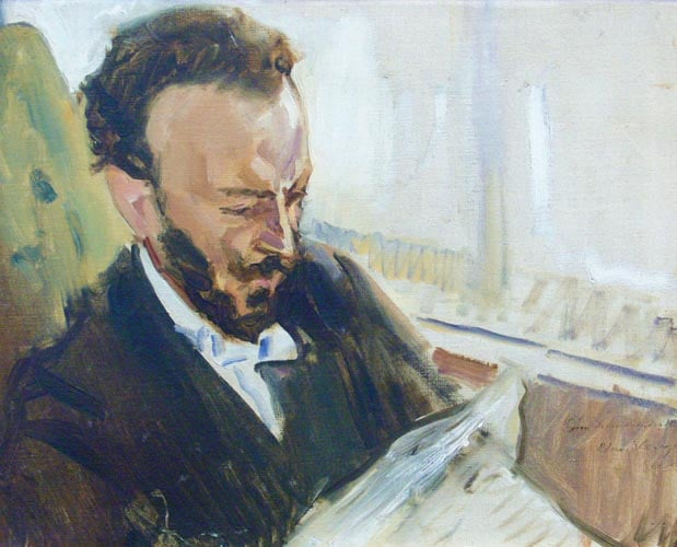 Max Slevogt, The singer Francisco D'andrade, reading a newspaper