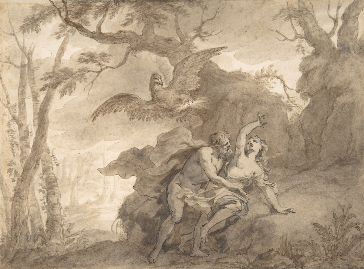 Godfried Maes, Illustrations to the Metamorphoses of Ovid, Mercury Rescuing Io from Argus (PD)