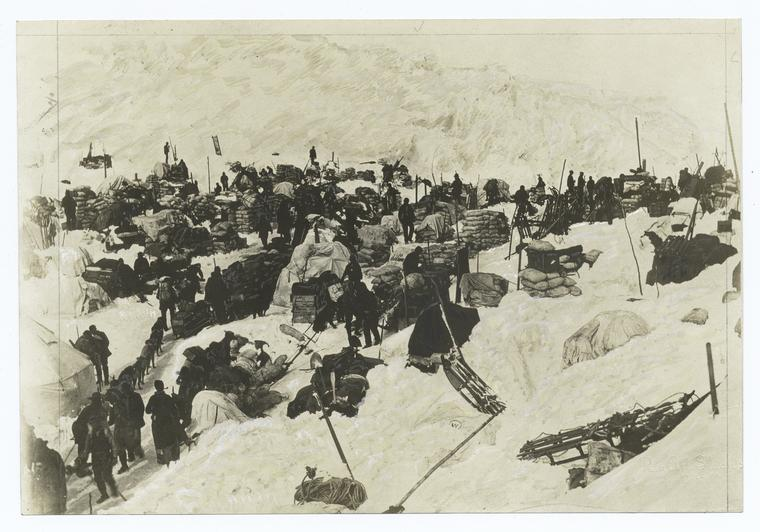 Prospectors on the Summit of the Chilkoot Pass during the Klondike Gold Rush ·Photo NYPL