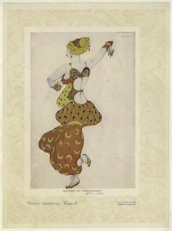 """Léon Bakst,Odalisque in """"Schéhérazade""""(1910–1916) ·Image NYPL"""