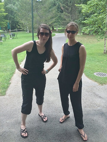 """The """"composer uniform."""" Natalie Draper with other Tanglewood Music Center Fellow Kate Moore, in 2015."""