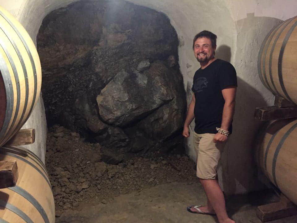 Kristian Keber in his wine cellar.