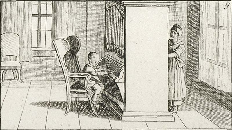 William Crotch, an English musical prodigy. Illustration from a book of drawings for youth; fromNuremberg, in the late 18th century.