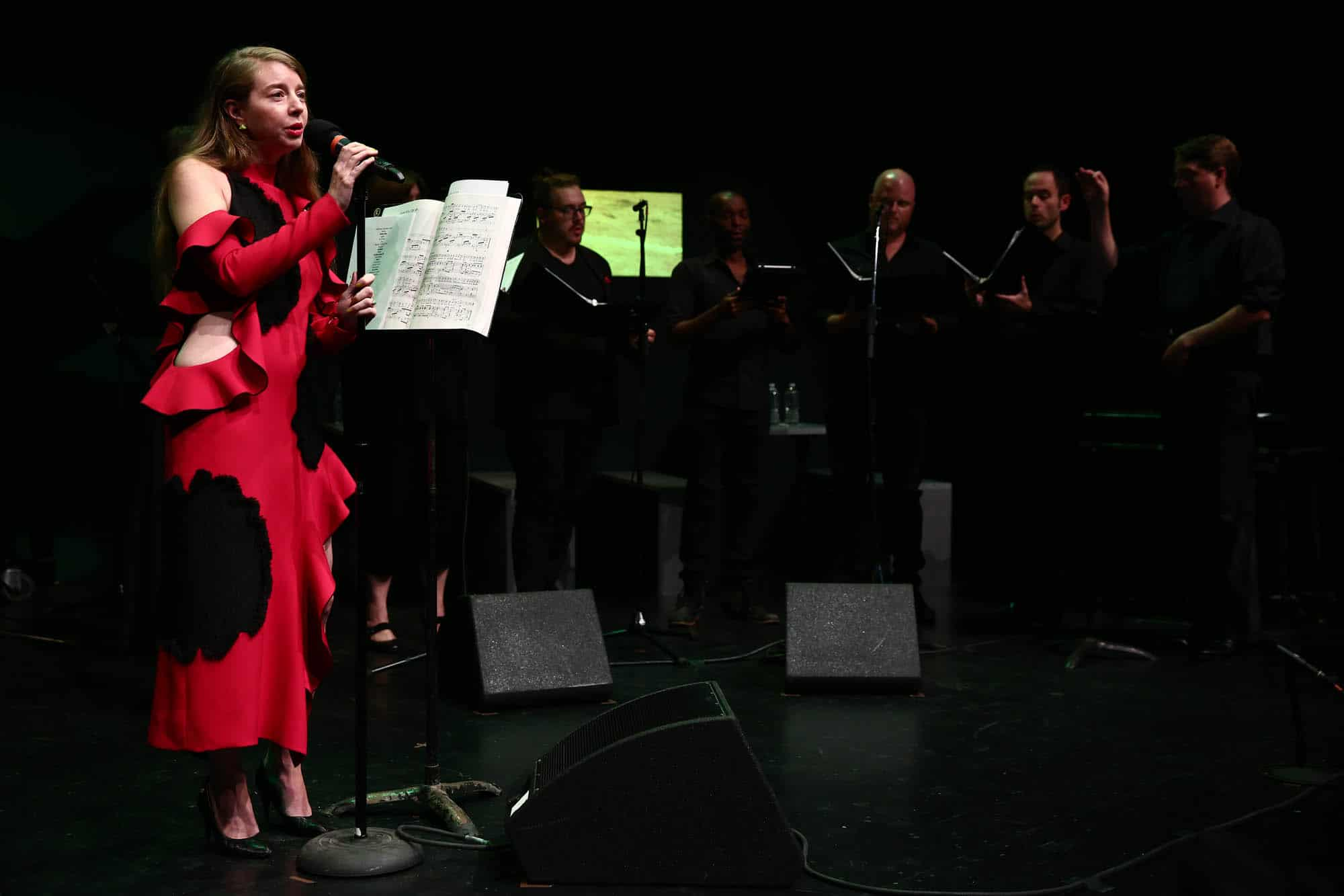 Emily Sundblad and the Sky High Choir at a performance inThe Kitchenin New York.