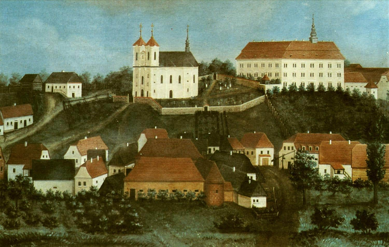 Čeština:pohled na Rožďalovice v roce •Anonymous, 1825 (PD)