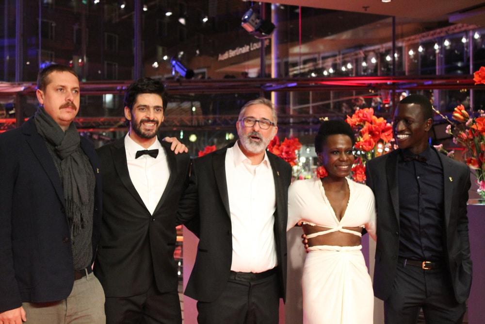 "Before the premiere of ""Joaquim"" at the Berlinale on February 16. With actors Welket Bungué, and Isabél Zuaa, Marcelo Gomes, actor Júlio Machado and cinematographer Pierre de Kerchove •PhotoSABRINA TENÓRIO LUNA"