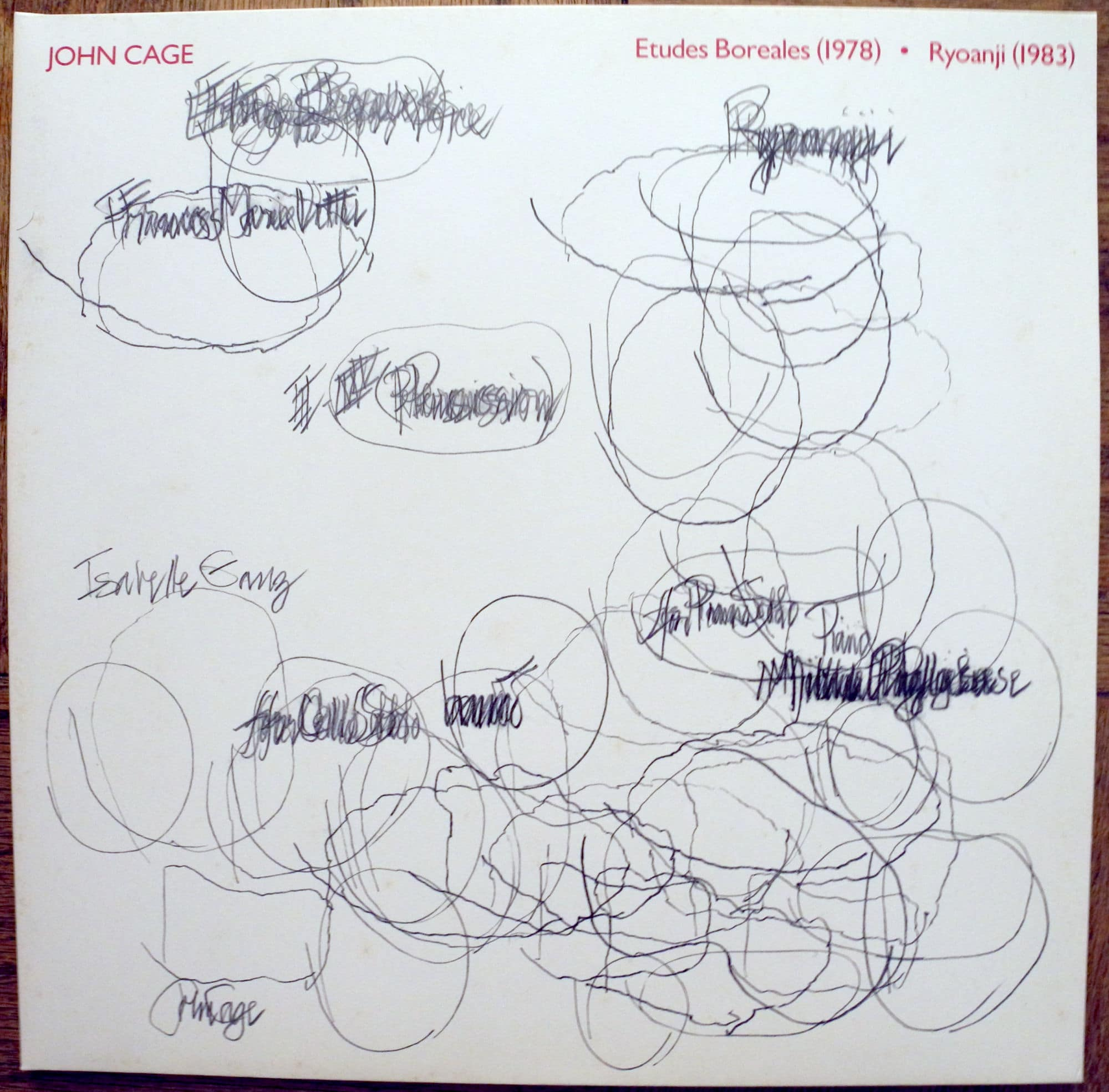 John Cage drew the cover for Mode Record's first release, on vinyl, in 1984.