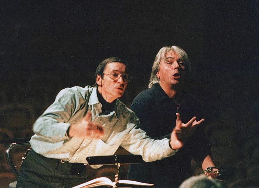 Rehearsing with Maestro Evgeny Kolobov, 1998