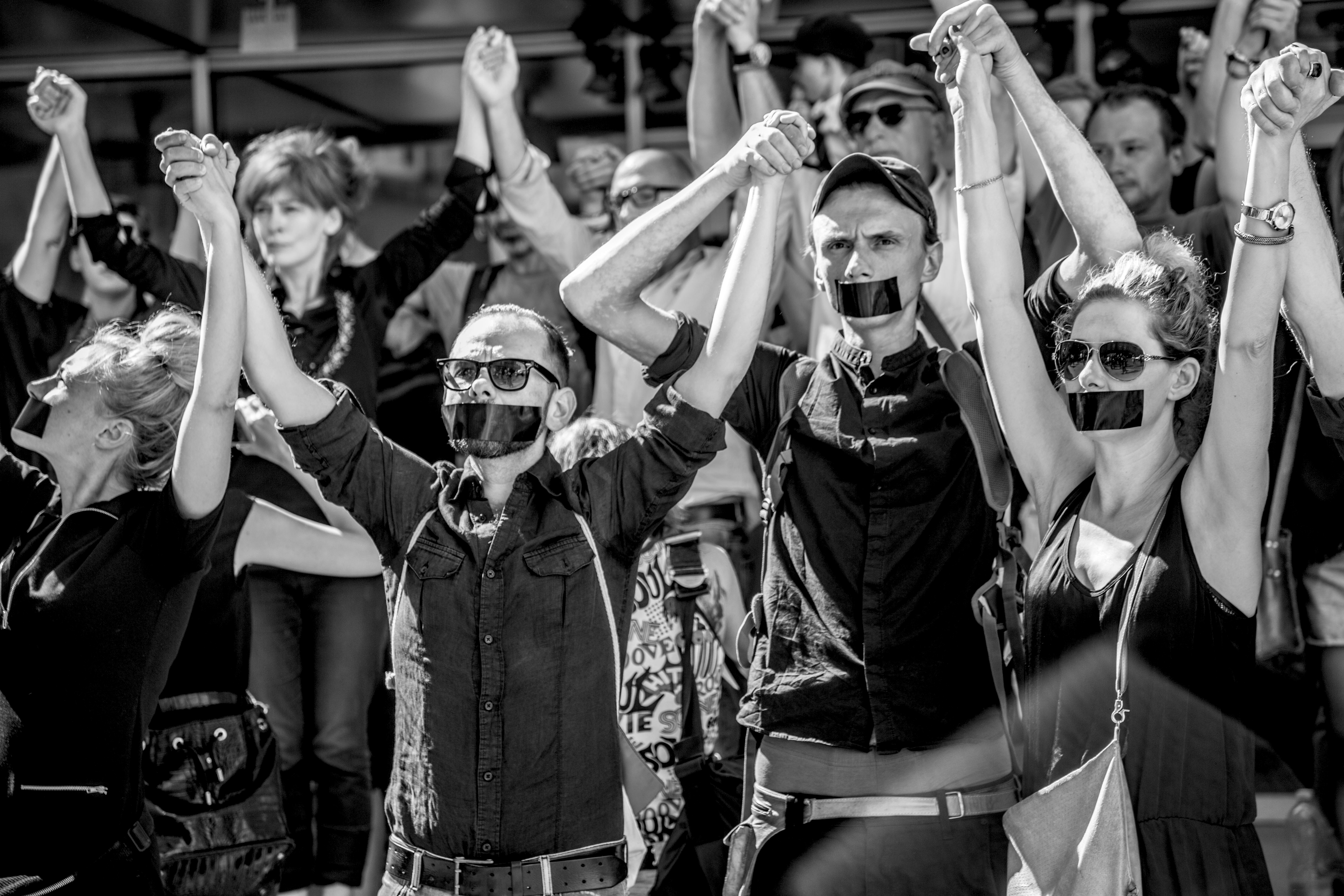 """A silent protest after a production of """"They,"""" in September 2016.Photo©Natalia Kabanow"""