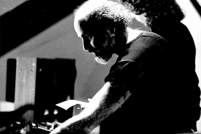 """Subotnick with Ralph Grierson preparing """"Liquid Strata"""" for piano and electronic ghost score at The Kitchen, 1979Photo© Carlo Carnevali"""