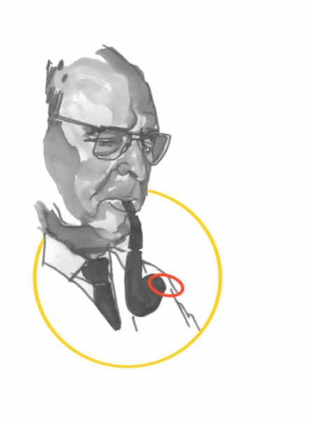 Illustration of Pablo Casals smoking a pipe