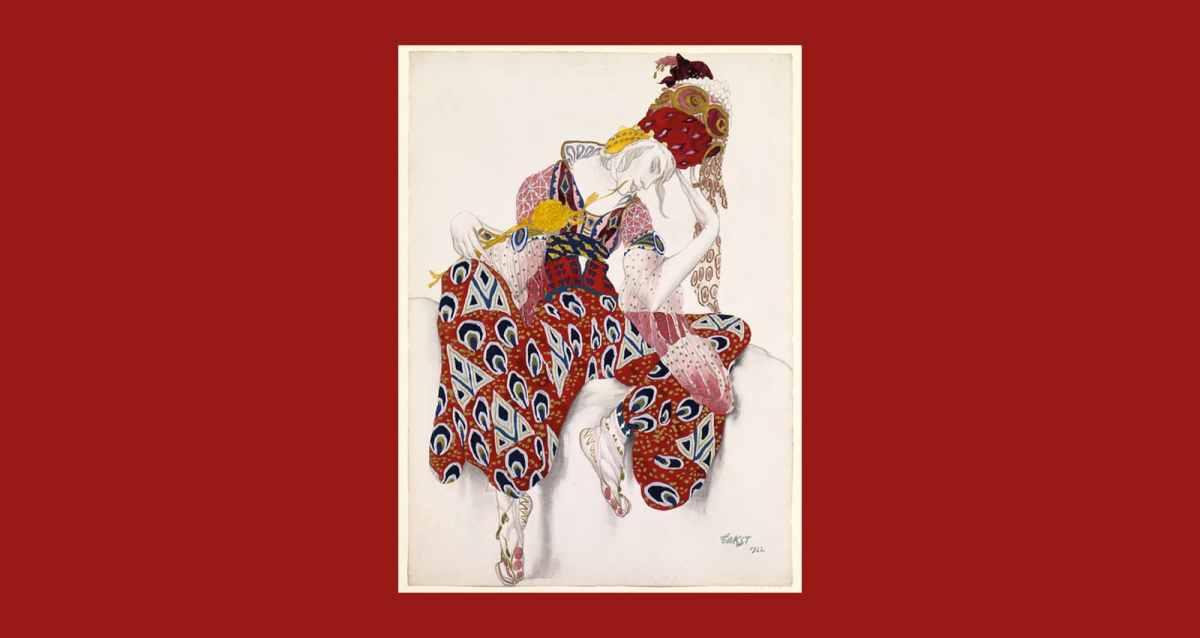 """Costume sketches for Paul Dukas' 1912 Poème dansé """"La Péri"""" by the artist Léon Bakst (Public Domain)"""